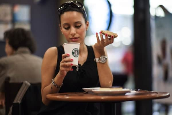 lady drinking starbucks coffee